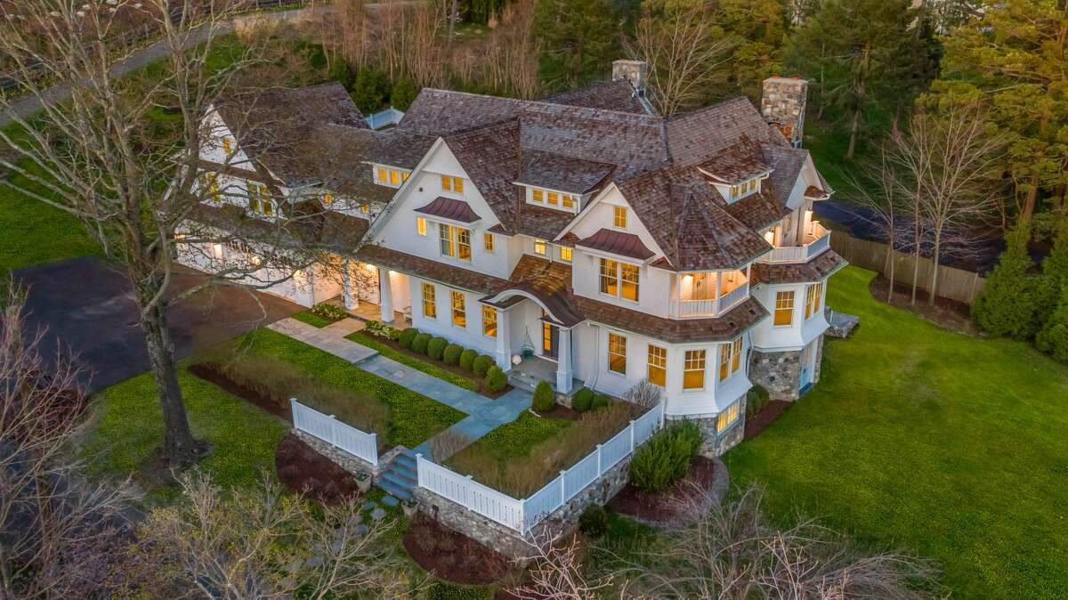 The colonial house at 2 Hidden Hill Road, Westport has 17 rooms and 9,250 square feet of living space.