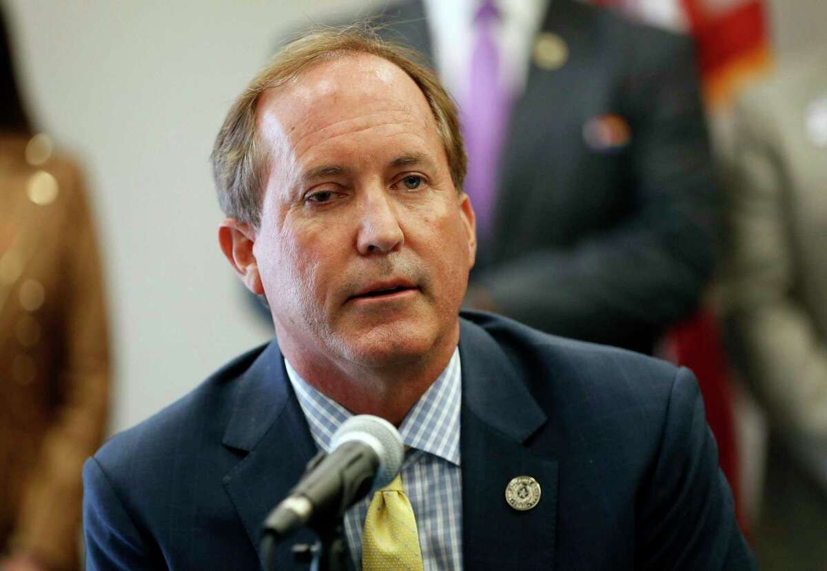 """FILE- In this Sept. 10, 2020, file photo, Texas Attorney General Ken Paxton speaks at the Austin Police Association in Austin, Texas. Paxton on Wednesday, Dec. 16, 2020, announced a multi-state lawsuit against Google, accusing the search giant of """"anti-competitive conduct"""" in the online advertising industry. (Jay Janner/Austin American-Statesman via AP)"""
