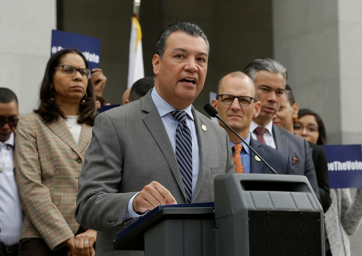 California Secretary of State Alex Padilla talks during a news conference Monday, Jan. 28, 2019, at the Capitol in Sacramento, Calif. California Gov. Gavin Newsom's is considering whom to appoint to serve out the rest of Vice President-elect Kamala Harris' Senate term through 2022.�Under consideration for the job include Rep. Karen Bass, Rep. Barbara Lee of Oakland, Secretary of State Alex Padilla, and Long Beach Mayor Robert Garcia.