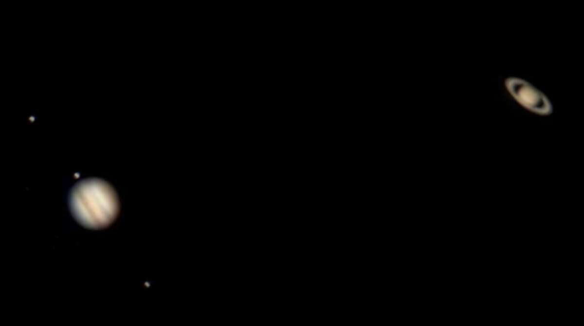 Jupiter and Saturn's conjunction on Monday night, as seen through a telescope.