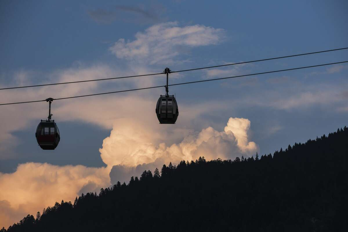 Overhead cable car in Paganella district in Andalo, Italy