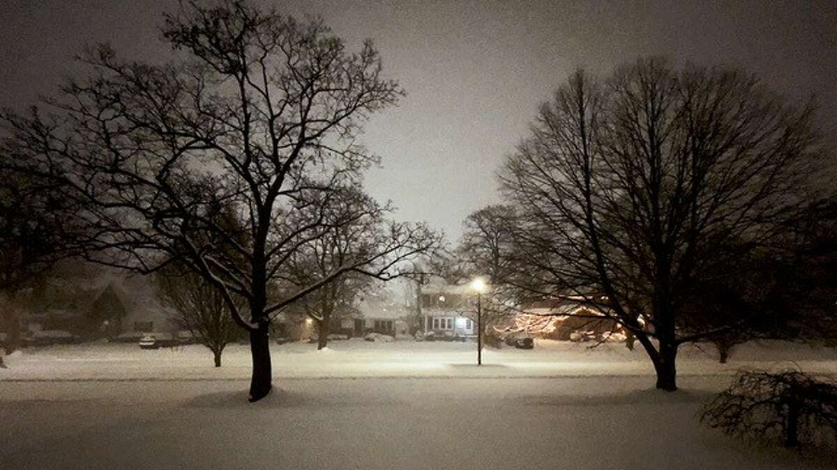 Rev. James Eaton, pastor of the First Congregational Church of Albany, captures the beauty of an earlier snowfall this season.