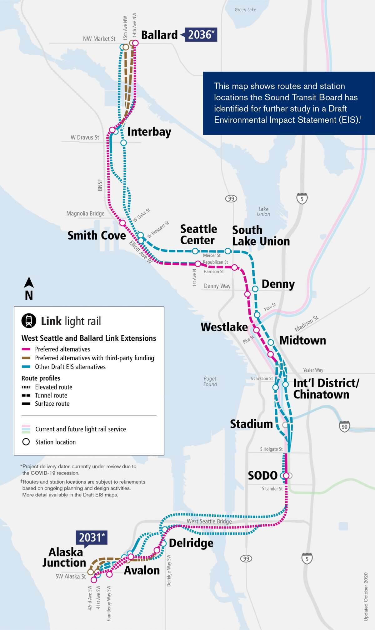 Proposed project map for the West Seattle/Ballard Link extensions.