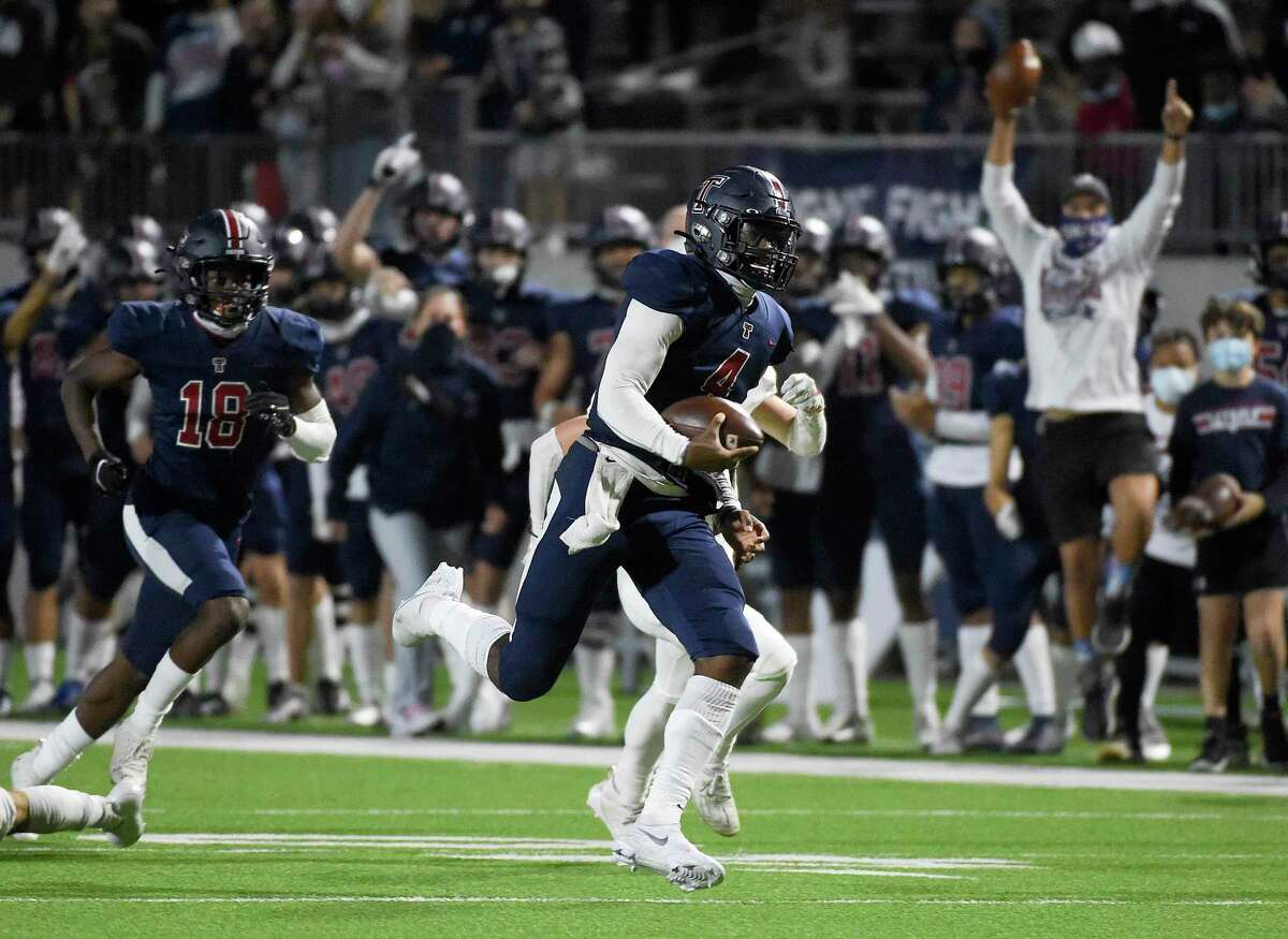Tompkins quarterback Jalen Milroe (4) and the Falcons will face two-time defending state champion North Shore for a Christmas Eve showdown.