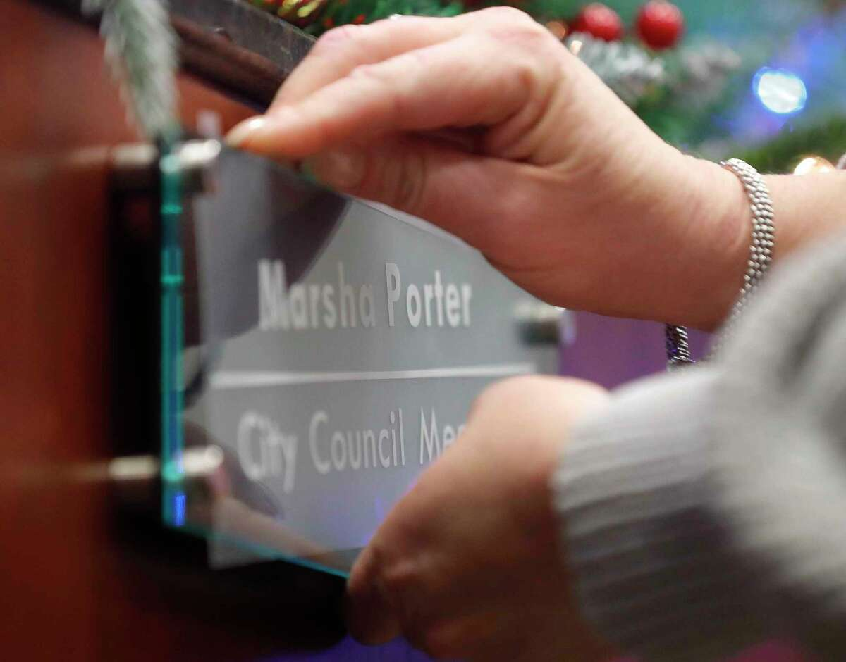 Marsha Porter was sworn into Conroe City Council at Conroe Tower Tuesday, Dec. 22, 2020, in Conroe. The former Conroe councilwoman won the seat over Kelley Inman following a runoff election on Dec. 15. Porter fills unexpired term of newly-elected Mayor Jody Czajkoski. Only 2,197 out of 49,155 registered voters cast a ballot in the runoff with Porter receiving 1,367 of those votes to Inman's 826.