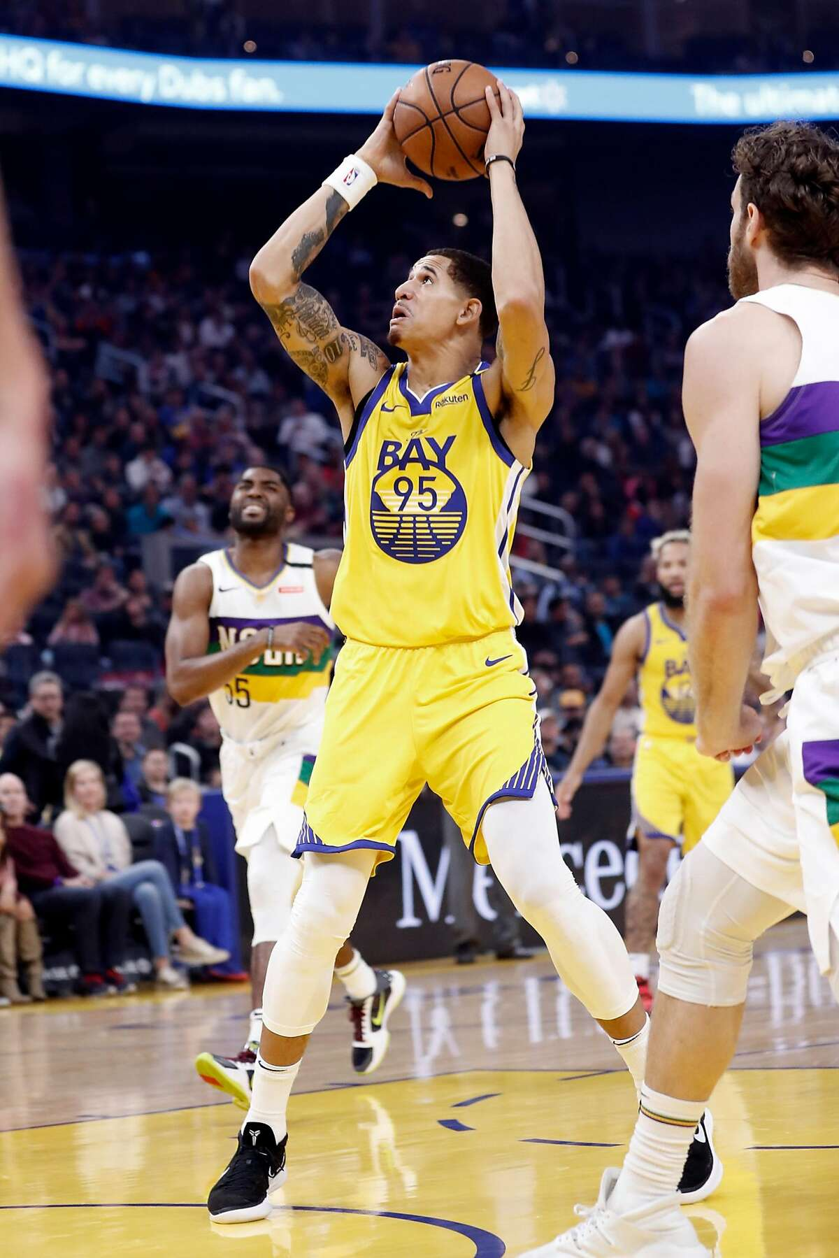 Golden State Warriors' Juan Toscano-Anderson looks to score against New Orleans Pelicans' during Pelicans' 115-101 win in NBA game at Chase Center in San Francisco, Calif., on Sunday, February 23, 2020.