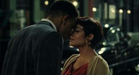 "Nnamdi Asomugha and Tessa Thompson in ""Sylvie's Love."""