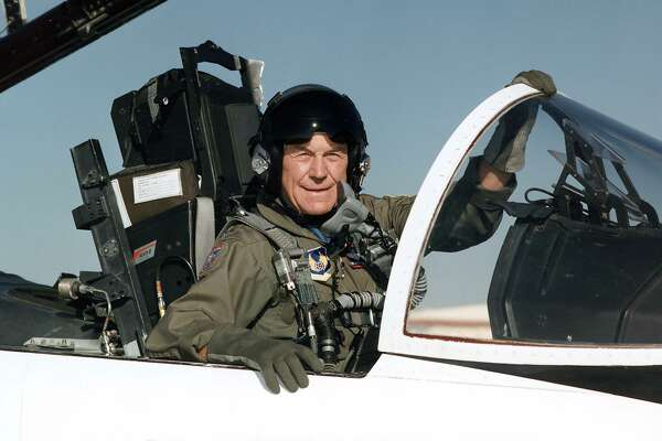 "This file US Air Force handout photo from 1995 at Edwards Air Force Base in California shows Brig. Gen. Charles E. ""Chuck"" Yeager in the cockpit of an F-15. - US aviation legend Chuck Yeager, the first pilot to break the sound barrier, has died, his wife announced on December 7, 2020. ""It is w/ profound sorrow, I must tell you that my life love General Chuck Yeager passed just before 9pm ET,"" Victoria Yeager tweeted on her husband's account."