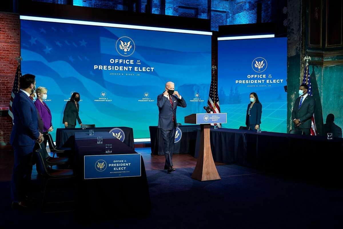 President-elect Joe Biden announces members of his climate and energy appointments, including Rep. Deb Haaland, D-N.M., at The Queen theater in Wilmington, Del., on Dec. 19. Secretary of Interior nominee Haaland is the first Native American nominated to the presidential cabinet.