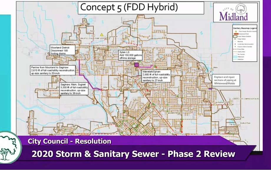 """A diagram shows what the """"Concept 5"""" improvement project would entail for the City of Midland's sewer system. (Screen photo/MCTV)"""