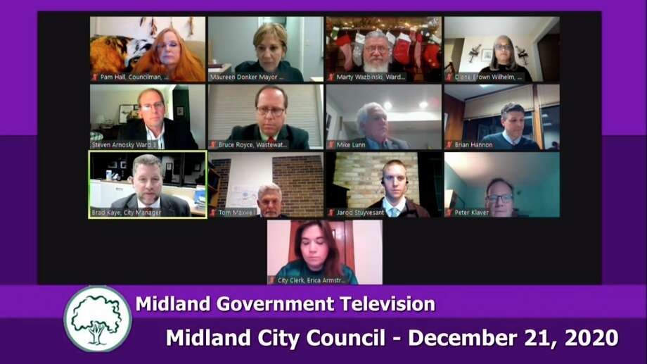 Midland City Council met virtually Monday, Dec. 21, 2020. (Screen photo/MCTV)