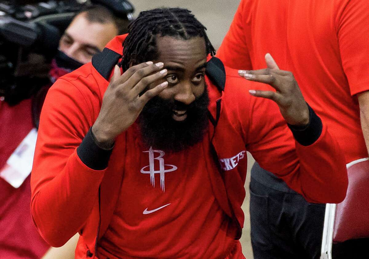 James Harden, in good spirits during a preseason game against the Spurs, will have to see what the season brings when it opens on Wednesday.