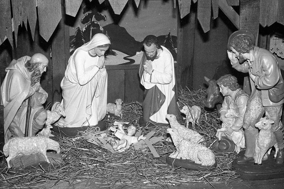 From the front page of the News Advocate on this day in 1980 - The nativity set at Guardian Angels Catholic Church on display. (Manistee County Historical Museum photo)