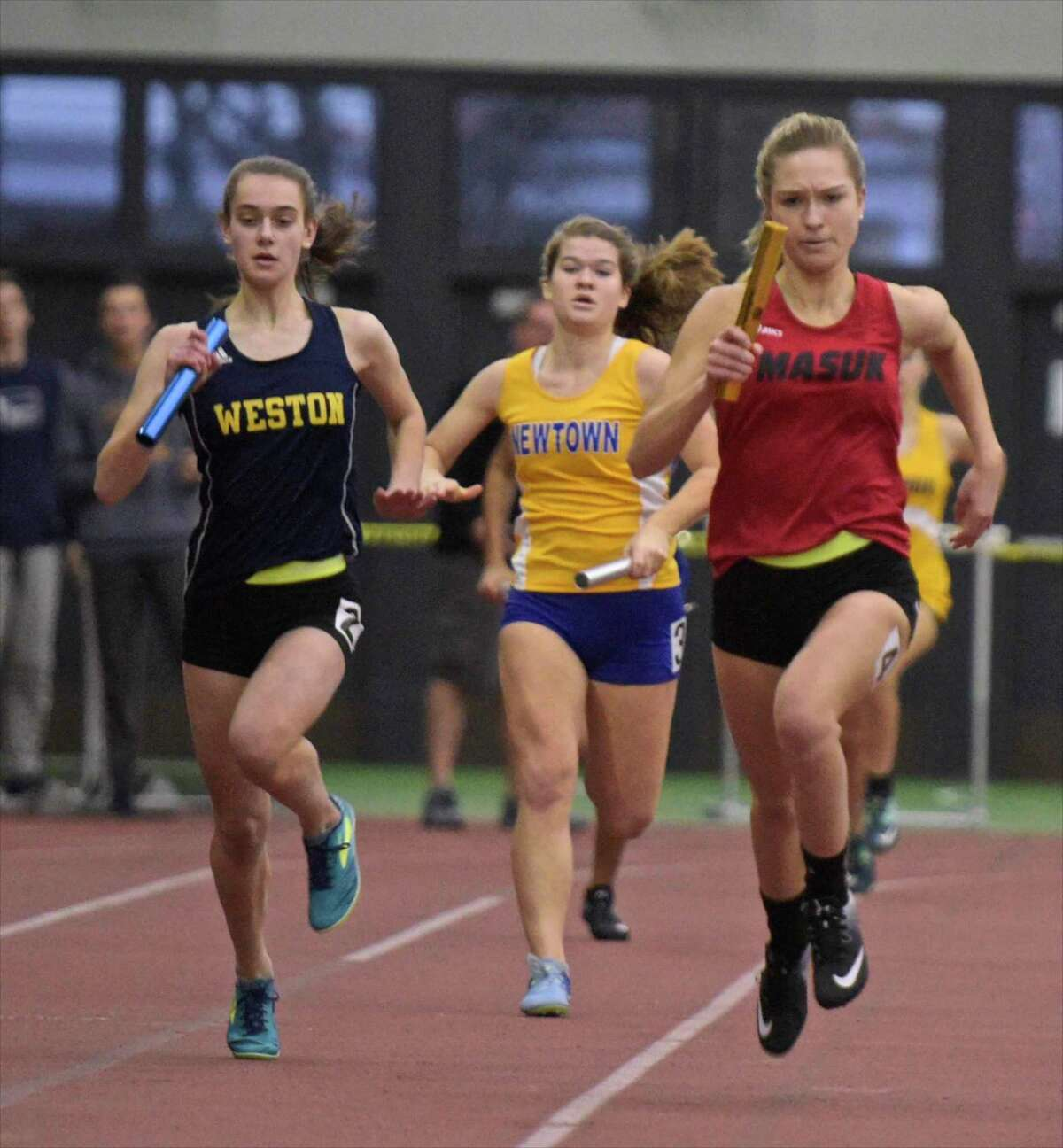 SWC girls indoor track championship at Floyd Little Athletic Center, New Haven, Conn, on Saturday night, February 3, 2018.
