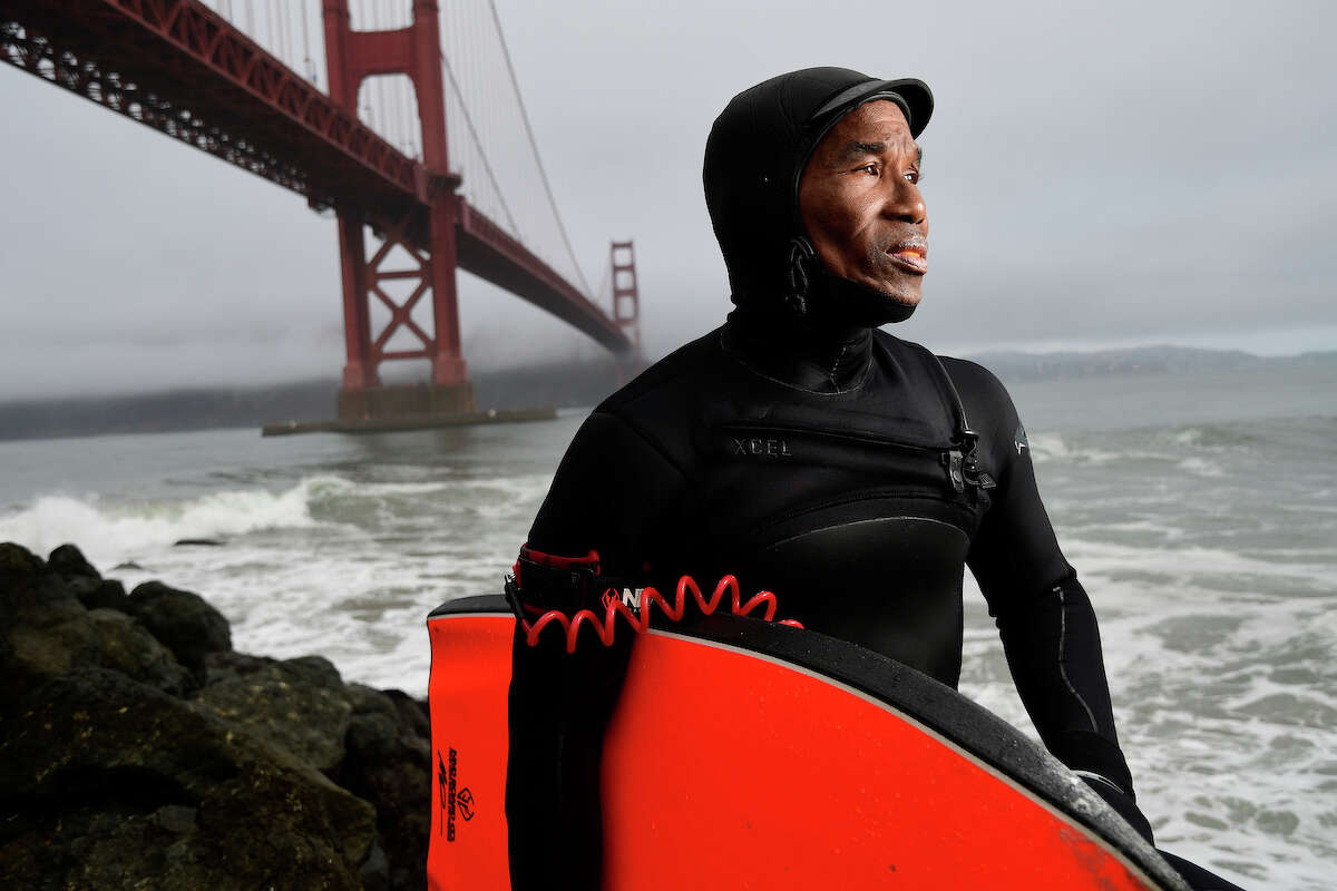 Shampa's Pies owner Haruwn Wesley grew up surfing in the Bay Area and frequently headed out into the waves on his bodyboard at Fort Point.