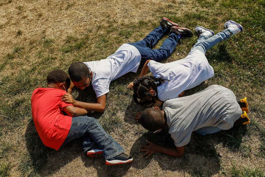 Children participate in a Richmond active shooter drill organized by Elana Bolds. Photo: Gabrielle Lurie / The Chronicle