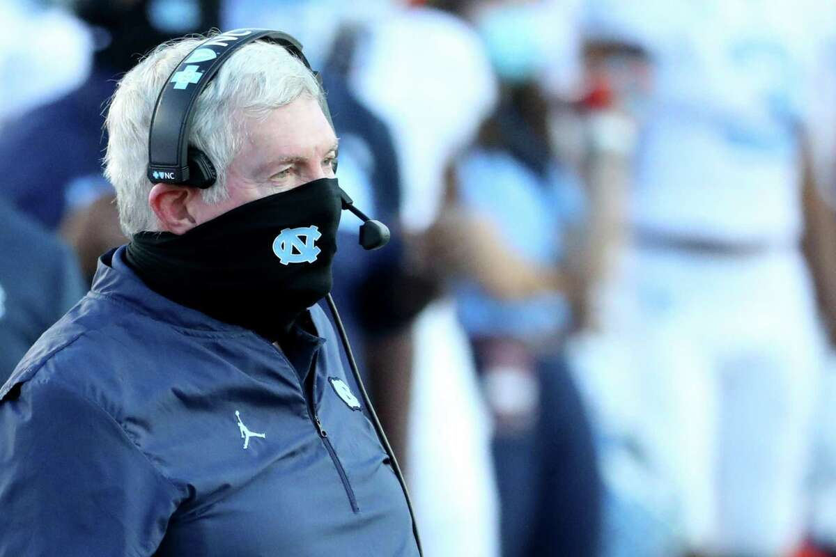 North Carolina head coach Mack Brown looks on from the sideline during a game against Boston College on October 3, 2020, at Alumni Stadium in Chestnut Hill, Massachusetts.