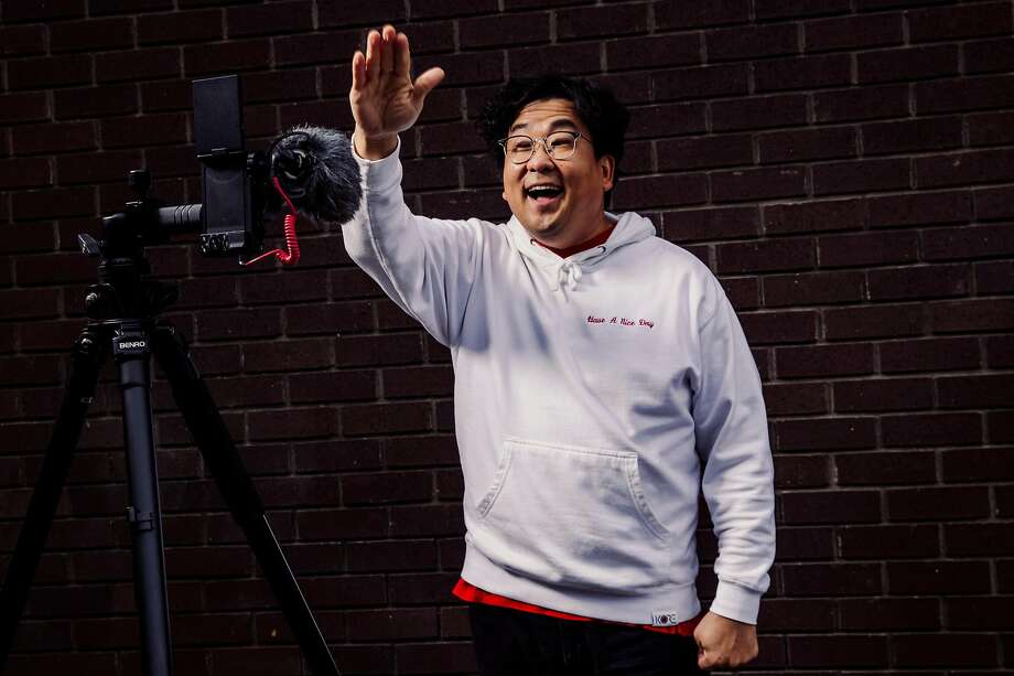 "Nick Cho, the co-founder and CEO of Wrecking Ball Coffee and creator of popular TikTok account ""Your Korean Dad,"" stands for a portrait on Friday, Dec. 11, 2020 in San Francisco, California. Photo: Stephen Lam / Special To The Chronicle"