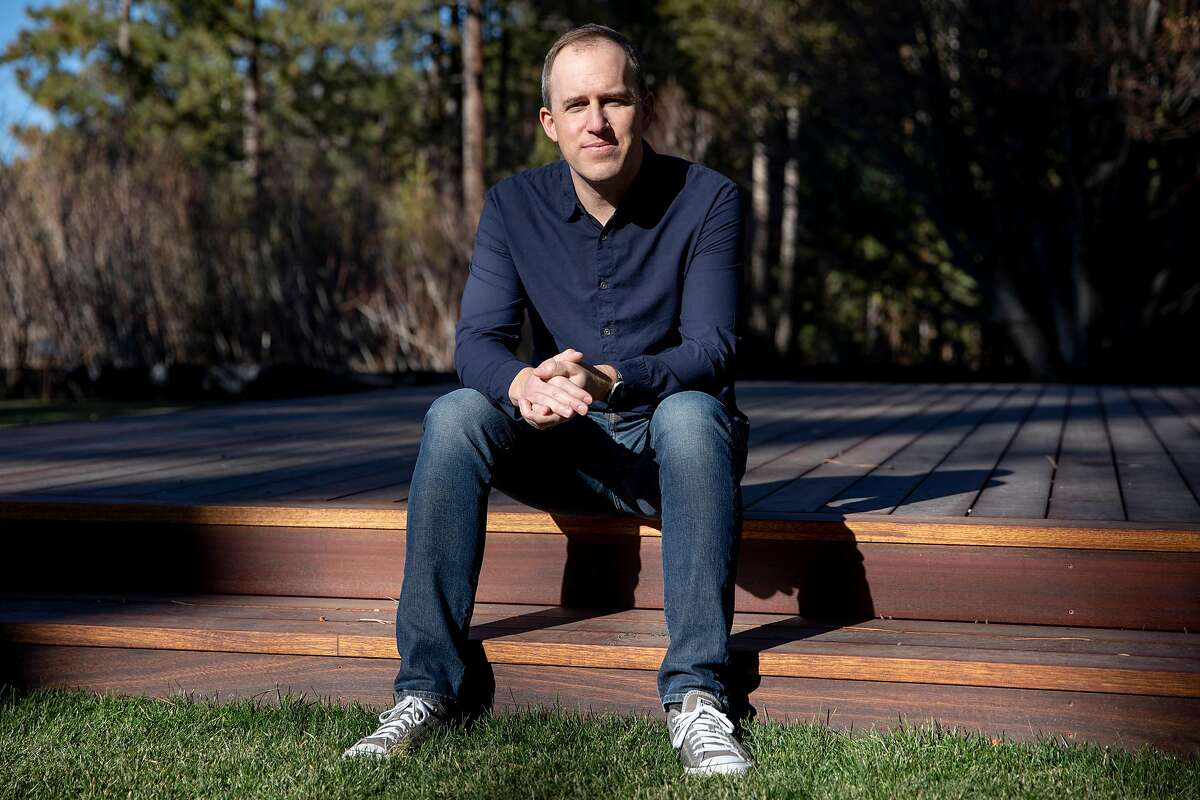 Salesforce Chief Operating Officer Bret Taylor poses for a portrait at his home near Lake Tahoe, Calif. Thursday, December 10, 2020. Bret Taylor was the architect of the company's recent $27.7 billion purchase of Slack. He lives in the East Bay, but has been making use of Salesforce and Slack's remote-friendly tools to work from the Tahoe area lately.