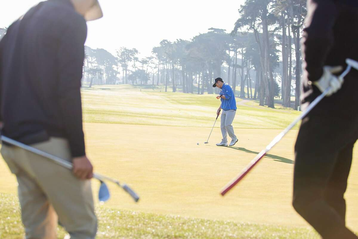 Nicholas Guan lines up a putt on No. 10 at Harding Park in San Francisco this month.