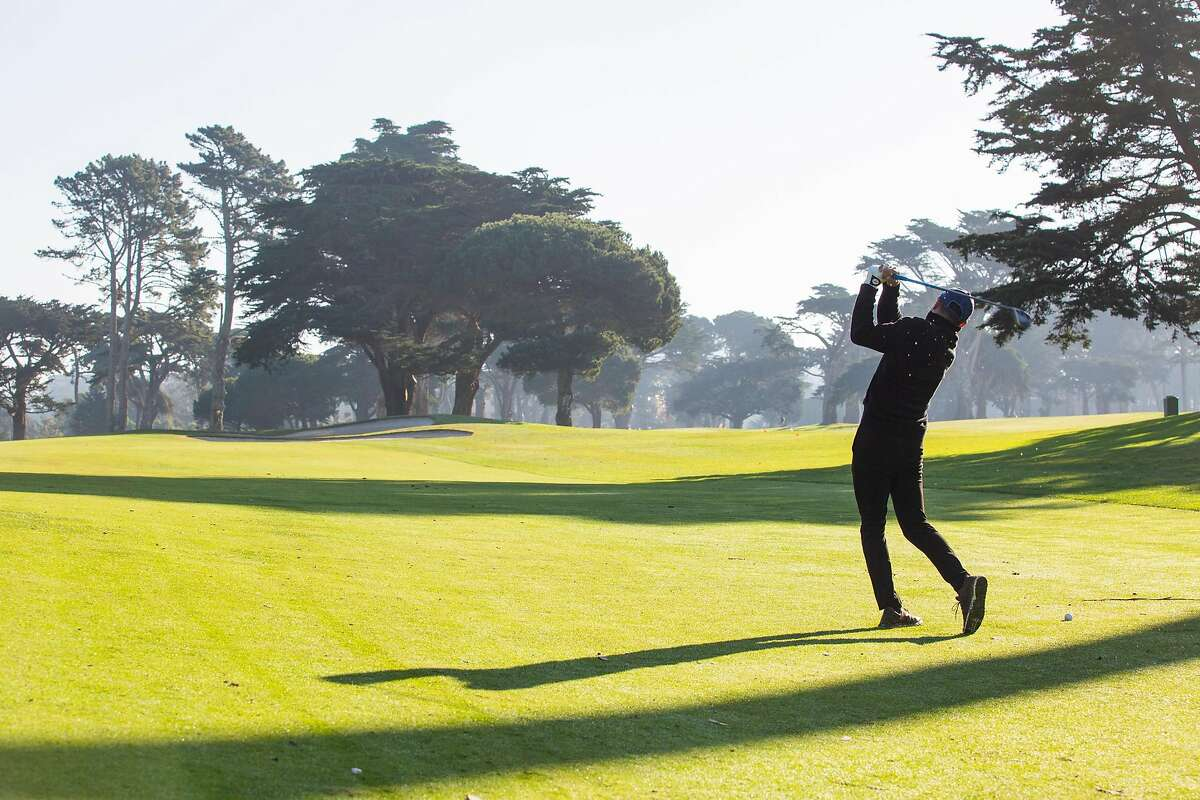 Seung Paik takes a swing at Harding Park in San Francisco this month.