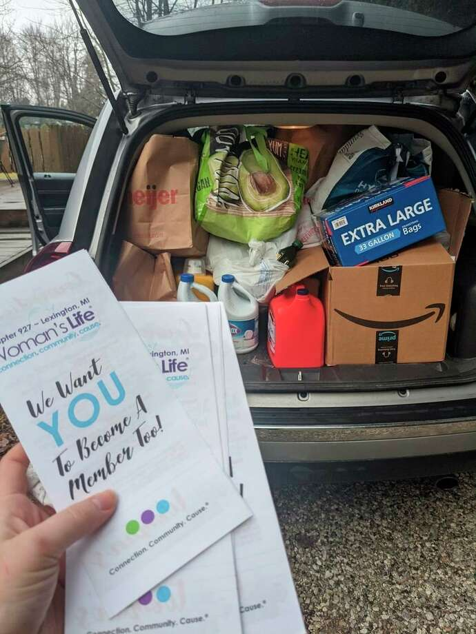 Over the past month, Lexington Women's Life Chapter 927 collected canned goods, non-perishable food items, cleaning supplies, and paper goods for local shelters. (Submitted Photo)