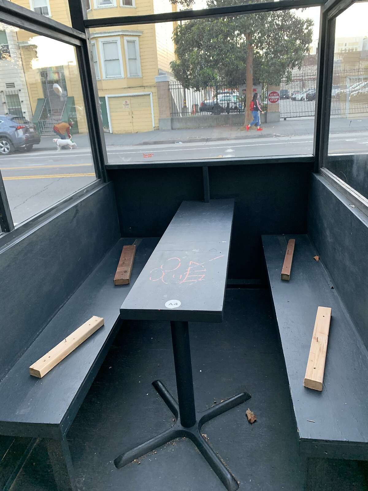 Exposed nails were placed in the parklet outside the Valencia Room. The bar's manager says the parklet was vandalized, and he has filed a police report.