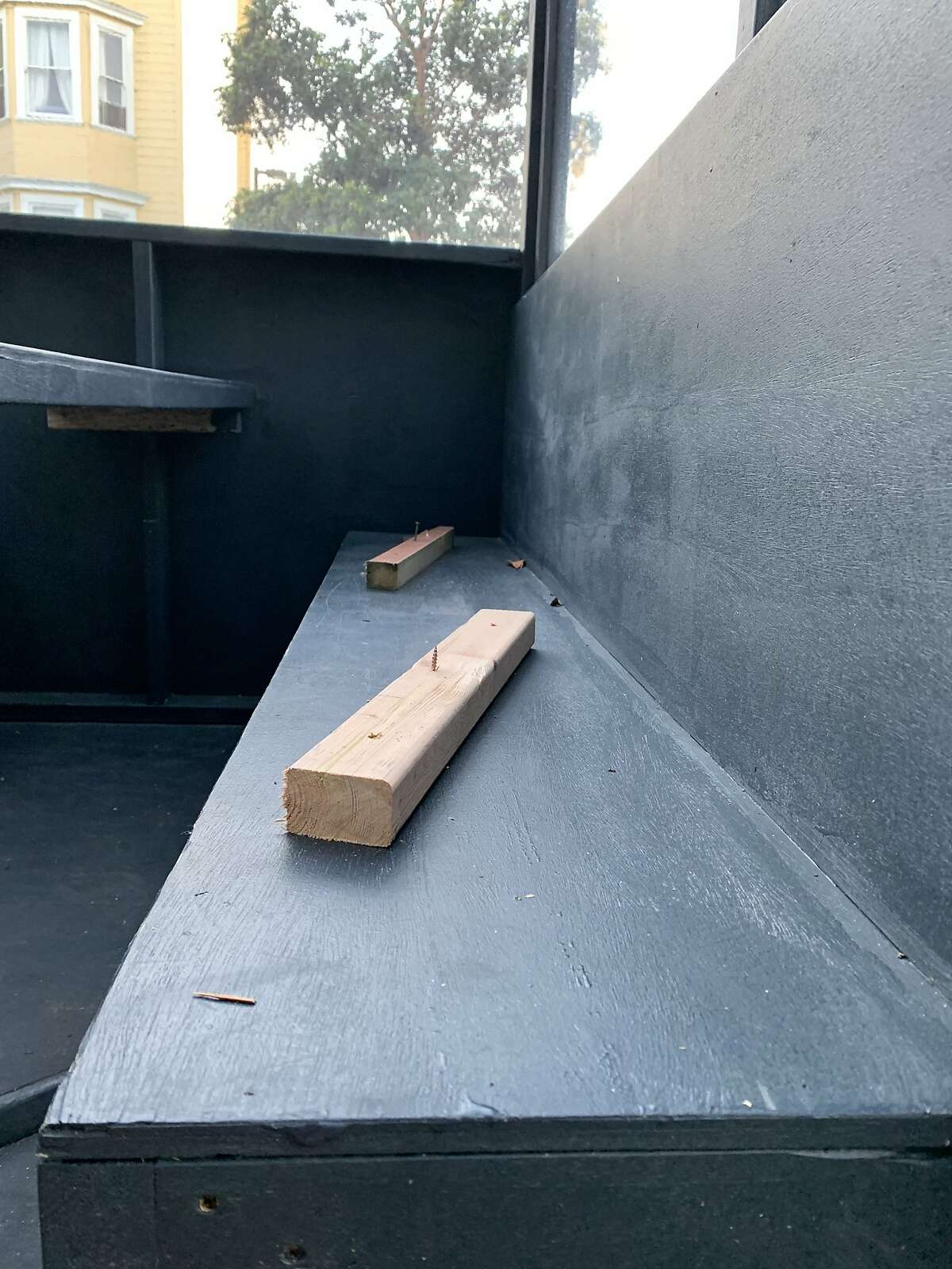 The dining parklet at the Valencia Room, a Mission bar at the center of a controversy over exposed nails in its parklet. The bar says it was vandalized, but a homelessness expert says the nails were an attempt to deter people seeking shelter.