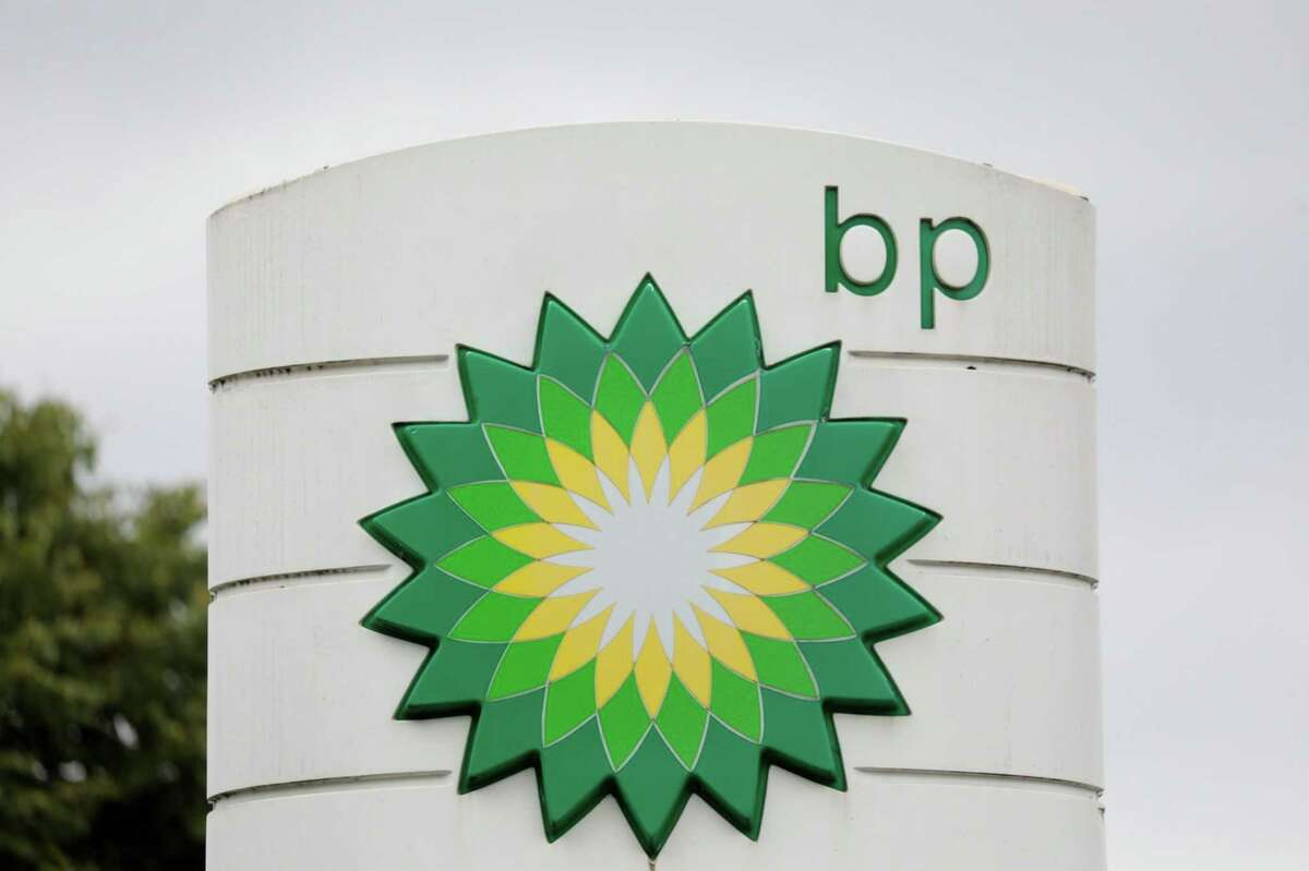 A BP logo sits on a totem sign at filling station in Cambridge, England, on June 8, 2020.