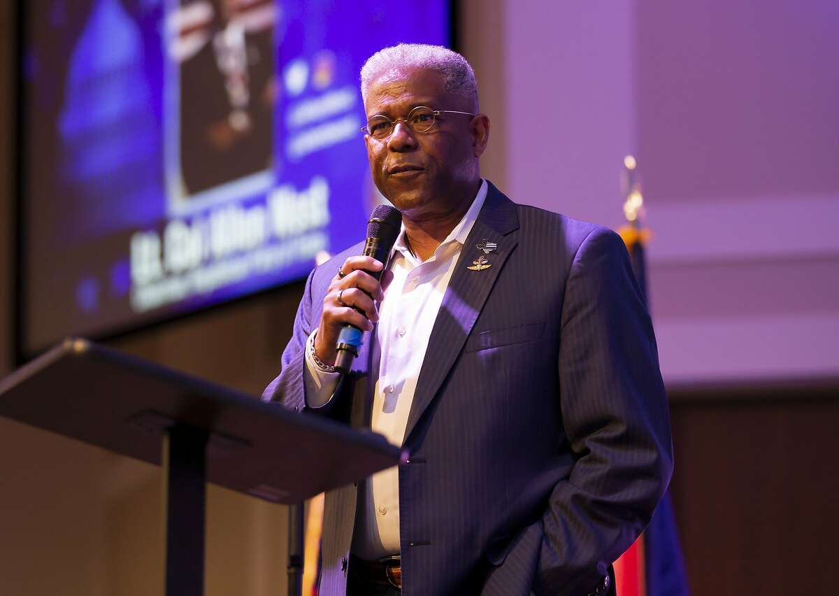 Texas GOP chairman Allen West speaks during the Defend The Police rally at West Baptist Conroe Church, Saturday, Oct. 10, 2020. An estimated 500 people attended the rally.