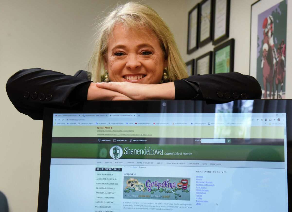 Kelly DeFeciani, Shenendehowa communications director, who is known as the 'Grapevine Lady' is pictured at her office on Wednesday, Dec. 23, 2020, in Clifton Park, N.Y. She is planning to retire. (Will Waldron/Times Union)