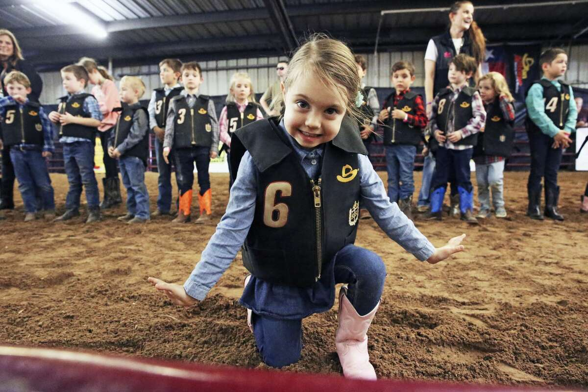 Charlotte Rutherford takes a bow after her performance during Bustin in the Barn at the San Antonio Stock Show and Rodeo on Feb. 17, 2020.