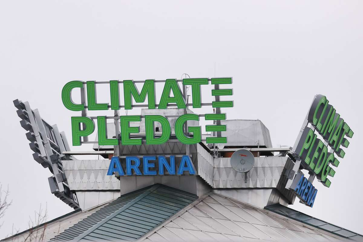 A general view of signage at Climate Pledge Arena on Dec. 10, 2020, in Seattle.