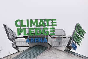 SEATTLE, WASHINGTON - DECEMBER 10: A general view of signage at Climate Pledge Arena on December 10, 2020 in Seattle, Washington. (Photo by Abbie Parr/Getty Images)