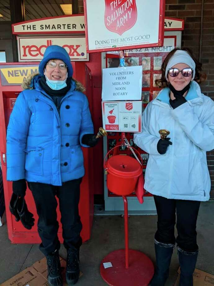Midland Daily News Editor Kate Hessling, right, is pictured in this Midland Noon Rotary Club Facebook photo with Midland's Tawny Nelb, organizer of the club's bell-ringing days on Dec. 5 and 12. The Midland Noon Salvation Army Fundraiser is dedicated in memory of former Rotarian, Jon Barckholtz, who died in 2014.