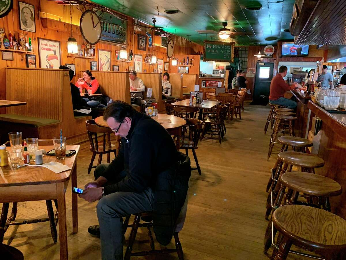 When indoor dining restrictions were loosened, local customers took advantage of the opportunity to once again visit their favorite local spots, like Schuberg's Bar and Grill downtown, while practicing social distancing. (Pioneer file photo)
