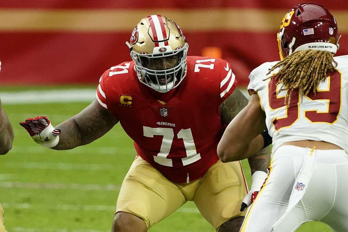 San Francisco 49ers offensive tackle Trent Williams (71) during an NFL football game against the Washington Football Team, Sunday, Dec. 13, 2020, in Glendale, Ariz. (AP Photo/Rick Scuteri)