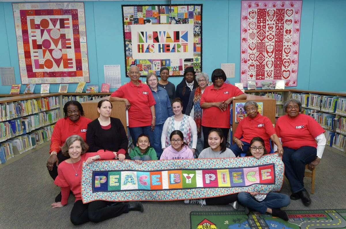 The Peace by Piece: The Norwalk Community Quilt Project members celebrated their 10th anniversary at the Norwalk Library in 2018.