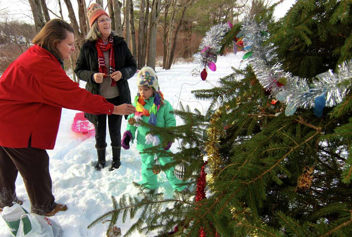 """Allison Menendez hands an ornament to Maggie Young, 5, and she and members of the Shelton Land Conservation Trust gather to decorate a """"Christmas Tree"""" that is located next to the Rec Path on the trust's Lane Street Property in Shelton, Conn., on Saturday Dec. 19, 2020. In back is Maggie's grandmother Mary King. The ornaments mainly consisted to edible ones to feed the wild birds and small animals on the property."""