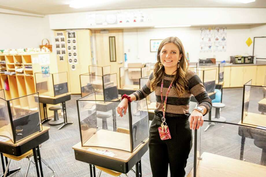 Ali Taylor said she's grateful to be back with her students and she's trying to emphasize just enjoying teaching and having her kids enjoy learning. (Photo by Adam Ferman)
