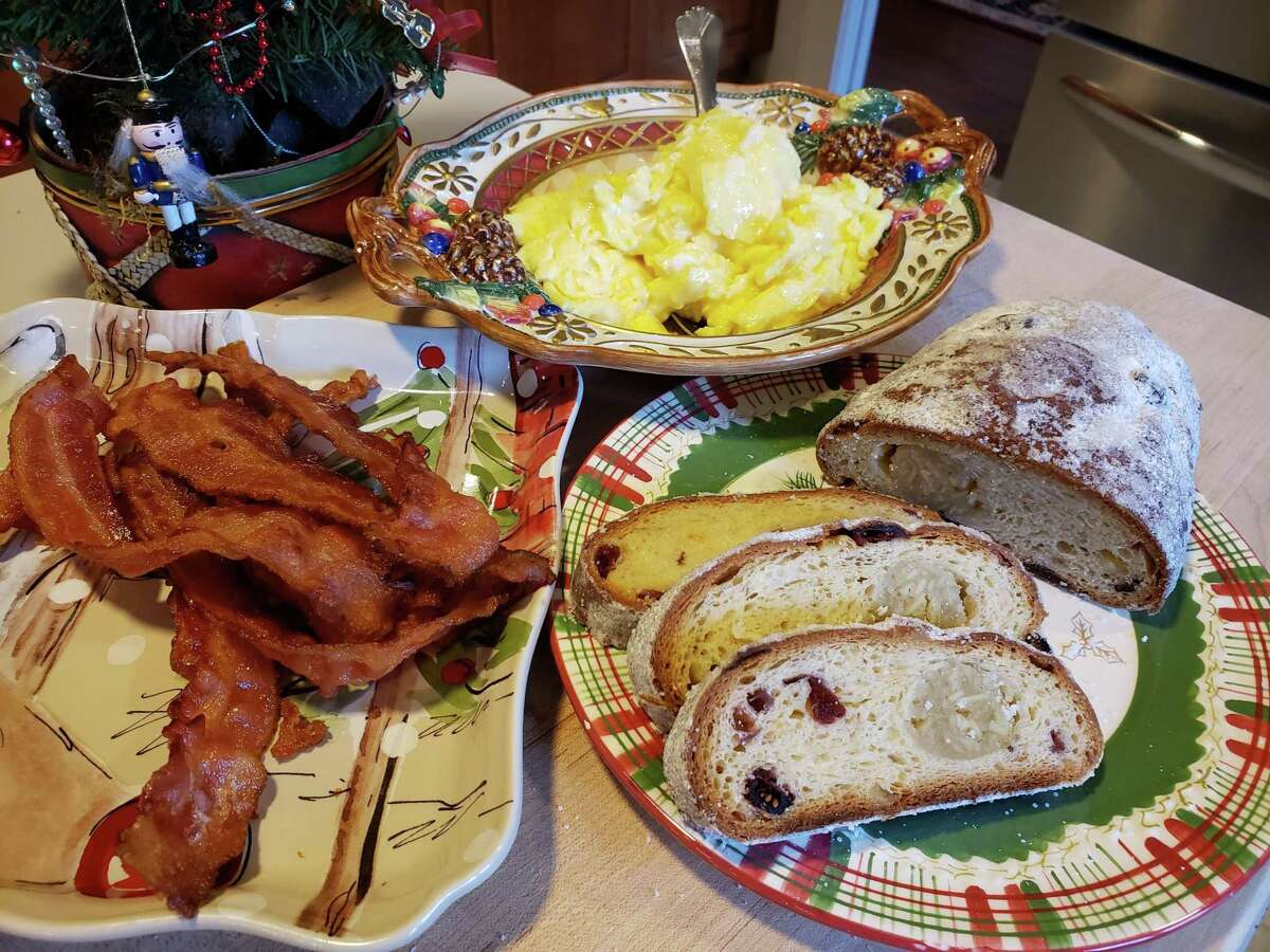 Christmas morning breakfast at the Whitmans' house includes scrambled eggs, bacon and a sweet bread like SoNo Baking's Dresden Stollen.