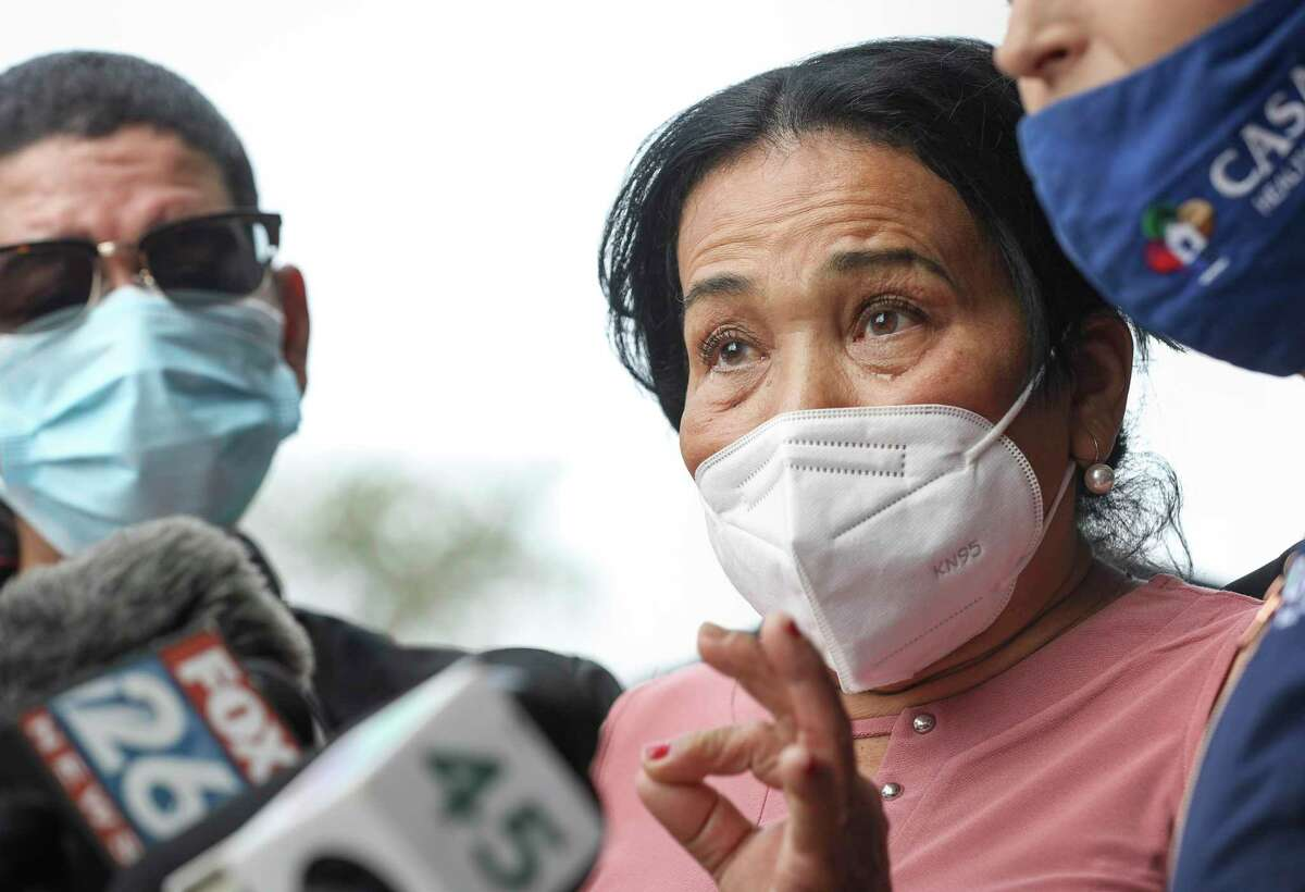 Justina Garcia talks about the death of her son Ulises Valladares during a press conference Wednesday, Dec. 23, 2020, at the law office of Randall Kallinen in Houston. Valladares was shot to death by an FBI agent during a botched rescue operation in 2018, after he was kidnapped.