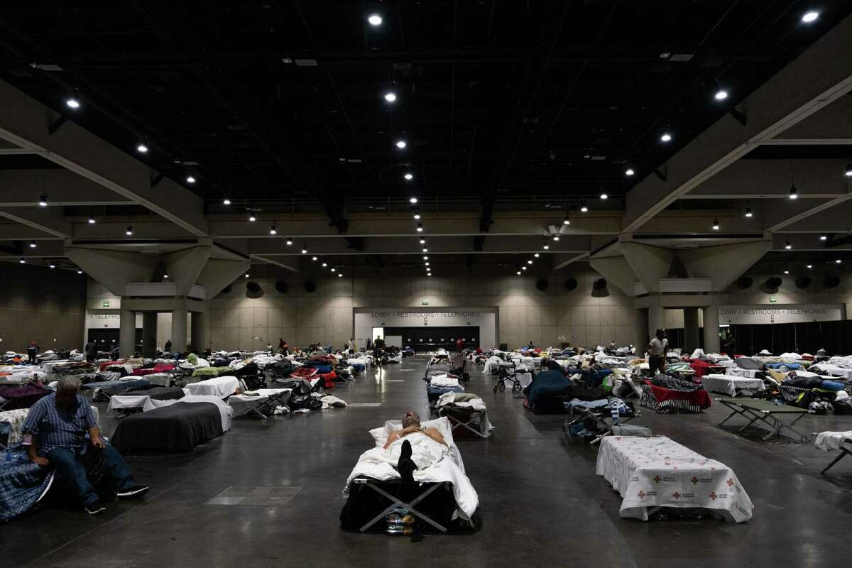 The San Diego Convention Center?'s interior as seen on Oct. 28, 2020. The city converted its convention center into a homeless shelter with supportive services to allow for proper social distancing during the COVID-19 pandemic.