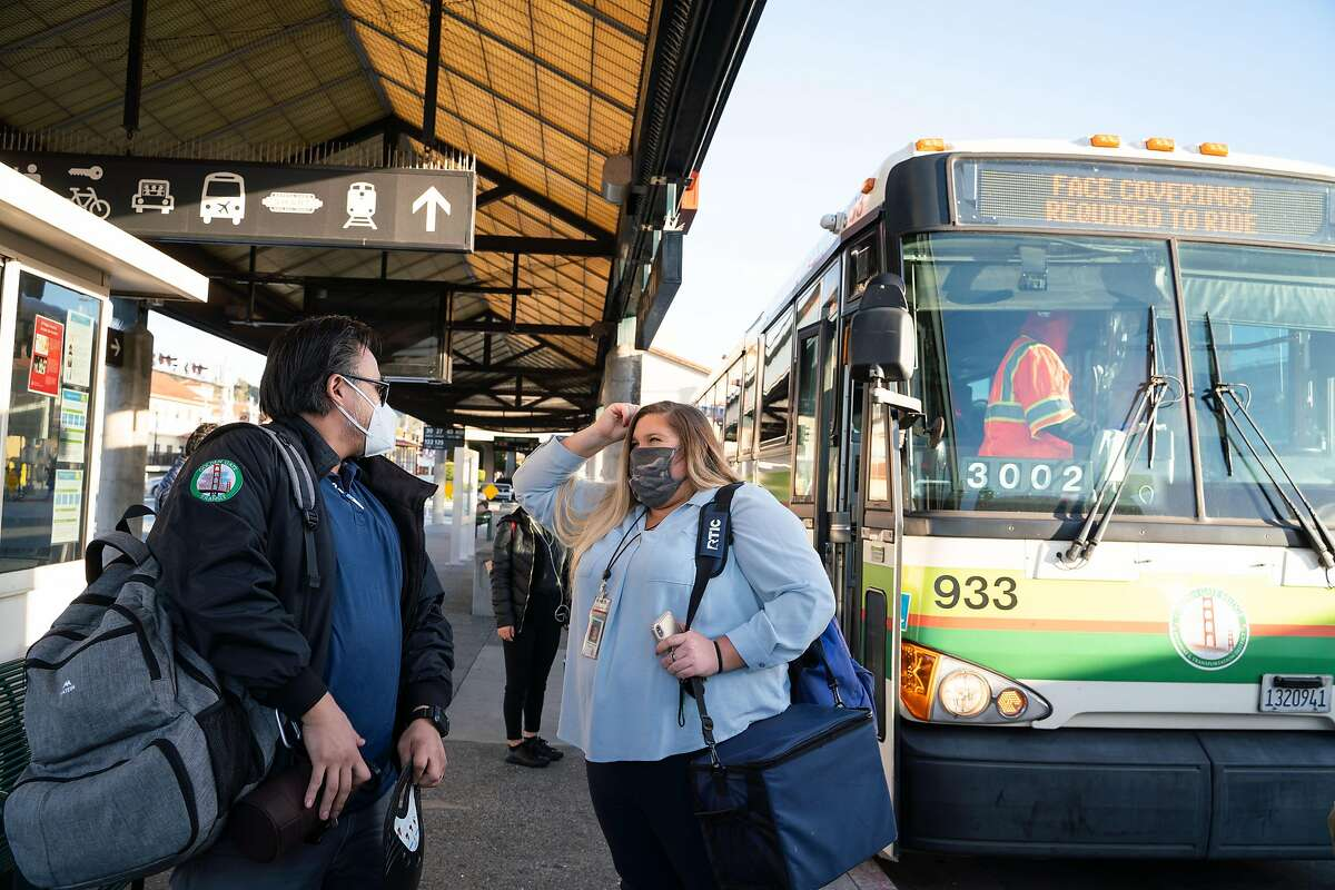Golden Gate Transit's Rainier Diaz and JorDann Crawford talk at the San Rafael Transit Center.