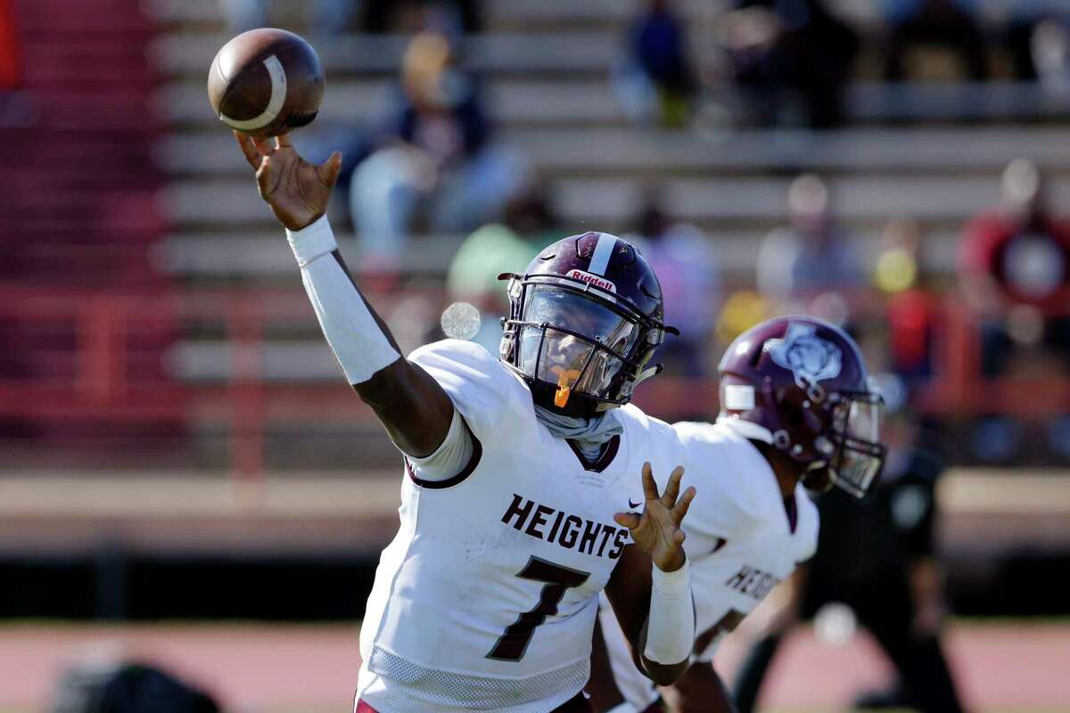 In the regular season, Heights quarterback Jalen Morrison threw for 1,120 yards with 12 touchdowns and two interceptions in seven games for the Bulldogs.