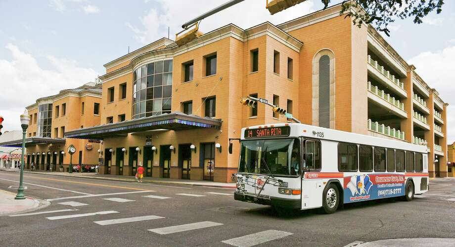 An El Metro bus is seen departing from the Laredo Transit Center in downtown Laredo at 1301 Farragut St. LPD reported an auto-pedestrian accident in the 1300 block of Farragut on Wednesday which sent a 68-year-old man to a San Antonio hospital. Photo: Danny Zaragoza /Laredo Morning Times File / LAREDO MORNING TIMES