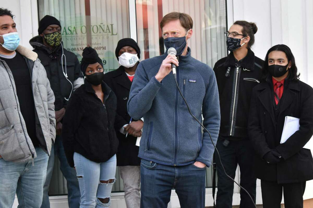 Members of Ice the Beef, a youth organization working against gun violence, and community members came together for a rally on Stevens Street Dec. 23, 2020, days after a 14-year-old boy and 16-year-old girl were wounded while walking there. Here, Mayor Justin Elicker speaks.