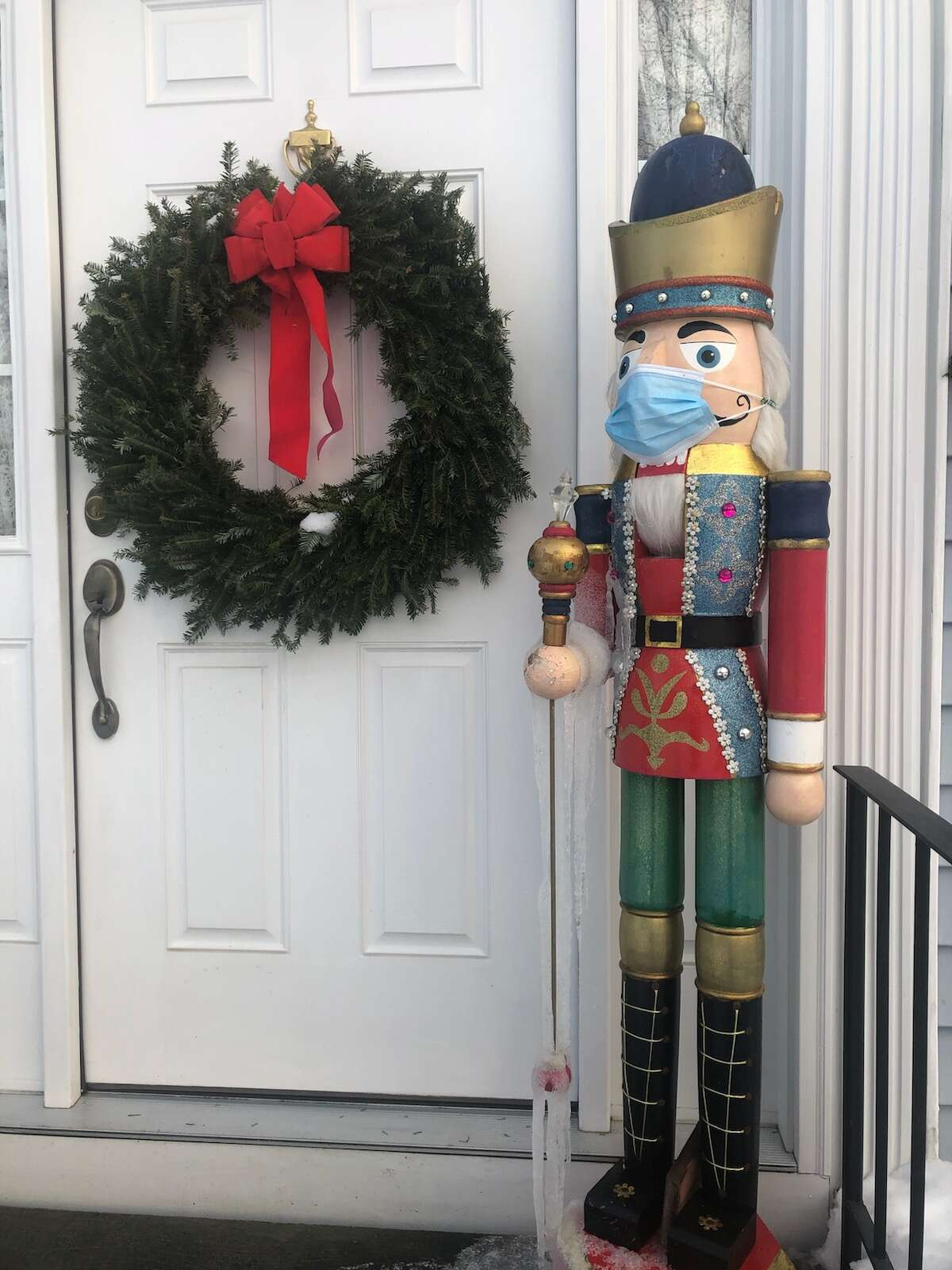 Christmas 2020When my daughter was young she danced the nutcracker ballet every year at the Egg in Albany. Our house is full of nutcrackers and the big one always guards the door. I knew he would take precautions.