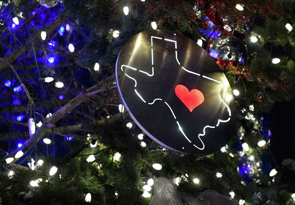 City of San Antonio's official Christmas tree, which is sponsored by H-E-B, has a Texas state motif this year. It is located at Travis Park.