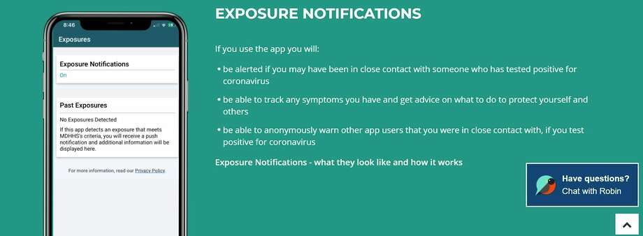 Michigan Department of Health and Human Services is trying to increase awareness of the state's new exposure notification mobile app, MI COVID Alert. (Screenshot/MDHHS website)